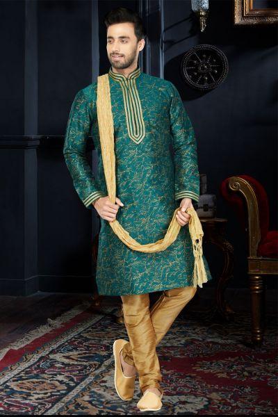 Green Cotton Silk Kurta Pajama (NMK-3409)