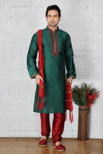 Green Dupion Art Silk Casual Kurta Pajama (NMK-3704)