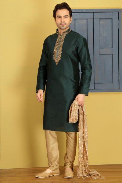 Green Dupion Art Silk Casual Kurtas for Men (NMK-3728)