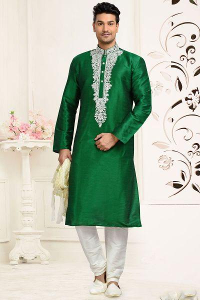 Green Dupion Art Silk Kurta for Men (NMK-3060)