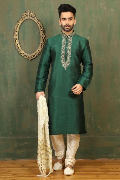 Green Dupion Art Silk Kurtas for Men (NMK-3312)