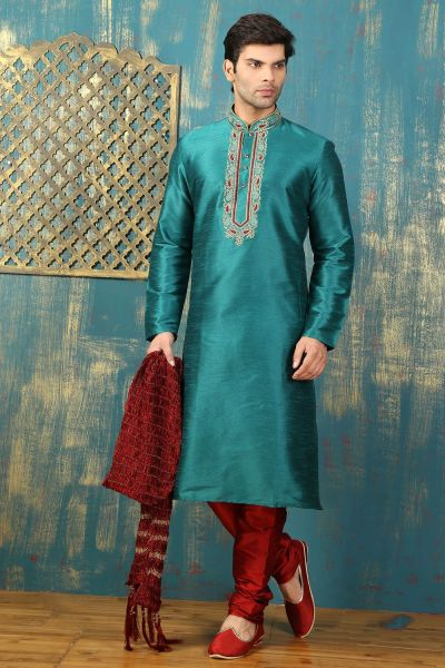 Green Dupion Art Silk Kurtas for Men (NMK-3323)