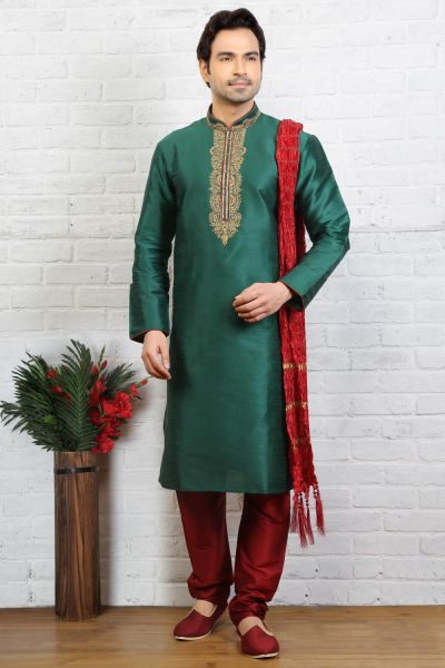 Green Dupion Art Silk Mens Casual Kurta Pajama (NMK-3720)