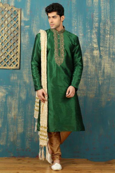 Green Dupion Art Silk Mens Kurta Pajama (NMK-3305)