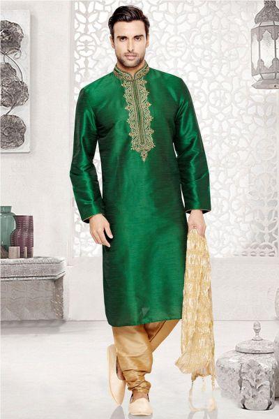 Green Dupion Art Silk Regular Kurta Pajama (NMK-3035)
