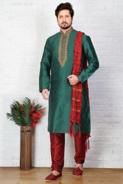Green Dupion Art Silk Regular Kurta Pajama (NMK-3718)