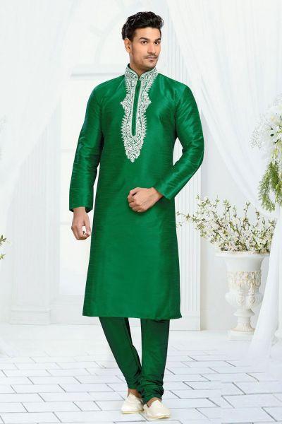 Green Dupion Kurta Pajama for Men (NMK-3089)