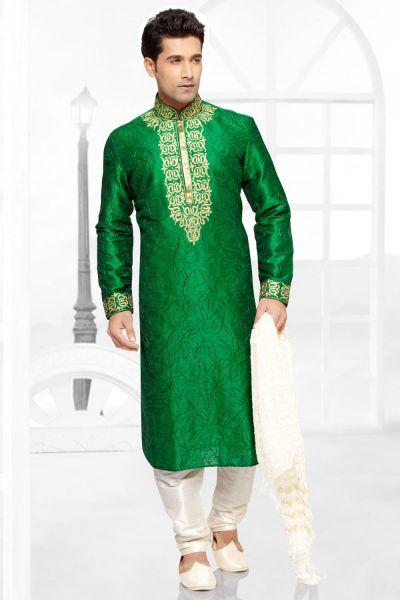 Green Dupion Silk Kurta Pajama (NMK-2788)