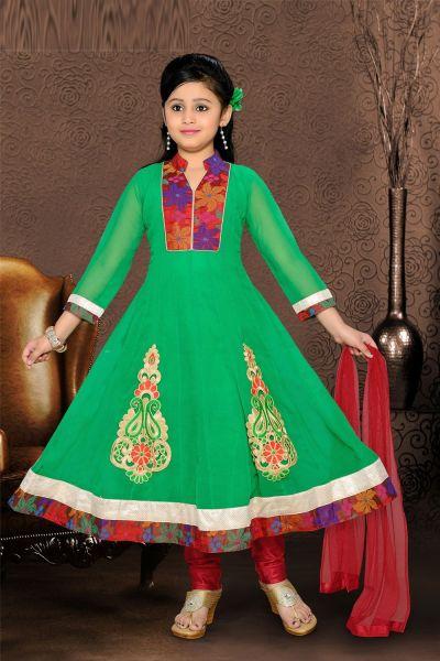 Green Georgette Girls Salwar Kameez (NFG-068)