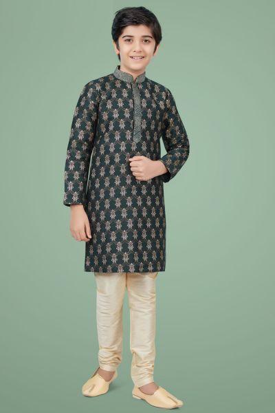 Green Giccha Silk Boys Kurta Pajama (NKK-687)