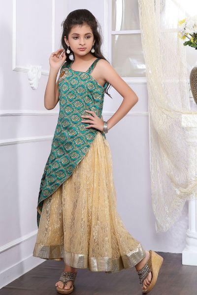 Green, Golden Brocade, Net Girls Gown (NFG-196)