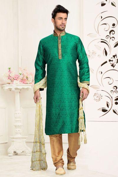 Green Jaquard Art Silk Kurta Pajama (NMK-3117)