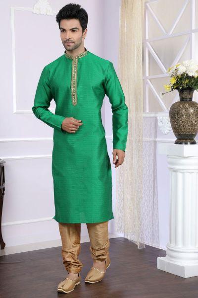 Green Jaquard Designer Kurta Pajama (NMK-4064)