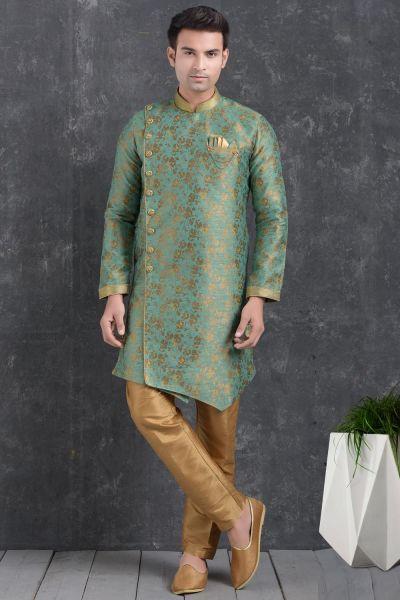 Green Jaquard Silk Brocade Indo Western Kurta (NMK-5014)