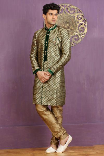 Green Jaquard Silk Brocade Indo Western (NMK-3268)