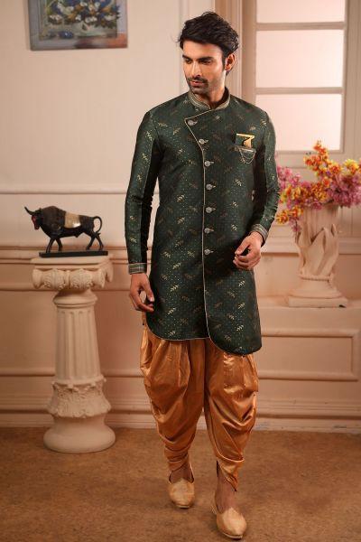 Green Jaquard Silk Brocade Indo Western (NMK-4446)