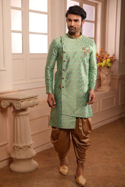 Green Jaquard Silk Brocade Indo Western (NMK-4459)