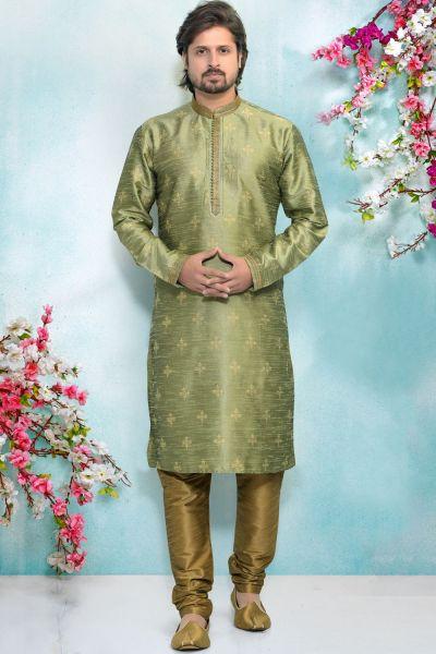 Green Jaquard Silk Brocade Kurta for Men (NMK-4920)