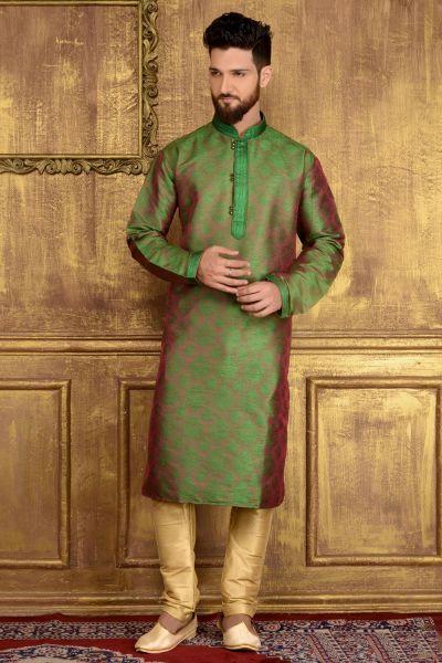 Green Jaquard Silk Brocade Kurta (NMK-3568)
