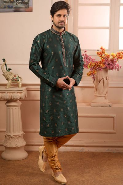 Green Jaquard Silk Brocade Kurta Pajama (NMK-4498)