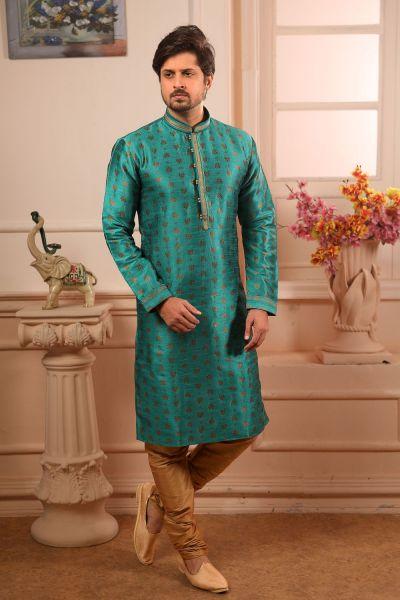 Green Jaquard Silk Brocade Kurta Pajama (NMK-4512)