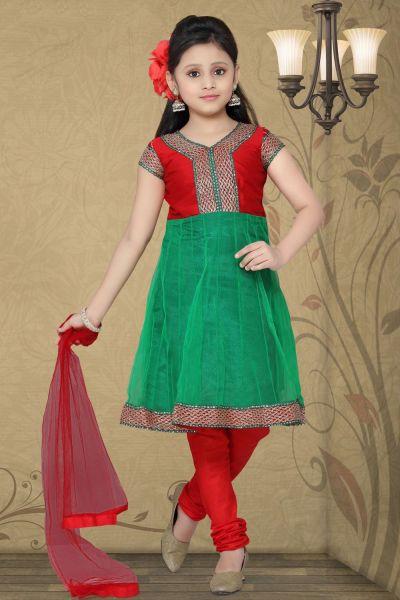 Green Net Girls Salwar Kameez (NFG-031)