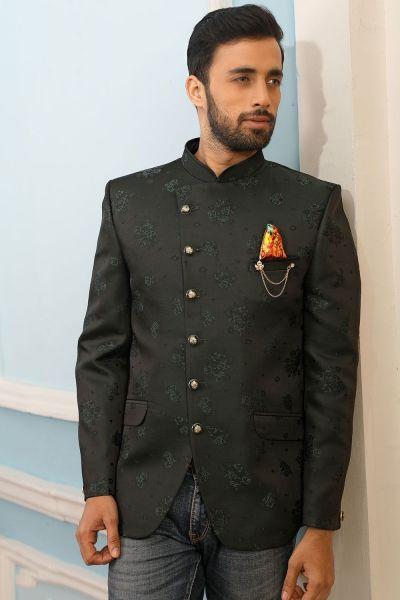 Green Printed Silk Brocade Jodhpuri Jacket (NMK-4236)
