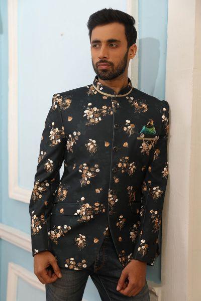 Green Printed Silk Brocade Jodhpuri Jacket (NMK-4237)