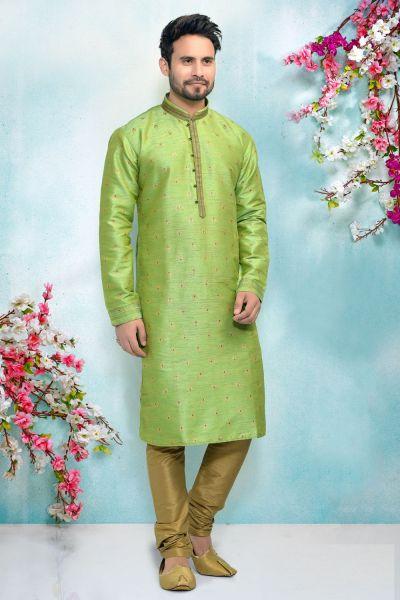 Green Silk Brocade Kurta for Men (NMK-4906)