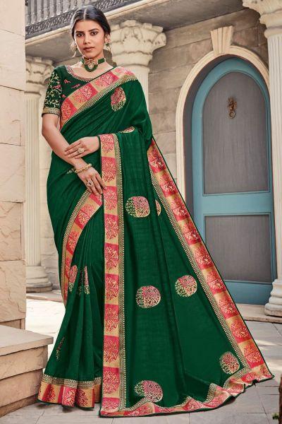 Green Silk Embroidered Saree (NWSA-5082)