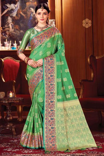 Green Silk Sari (NWSA-5111)