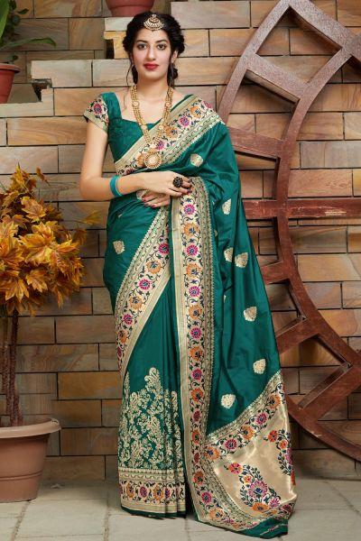 Green Soft Silk Saree (NWSA-5121)