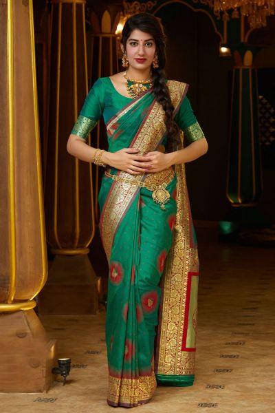 Green Soft Silk Saree (NWSA-5131)