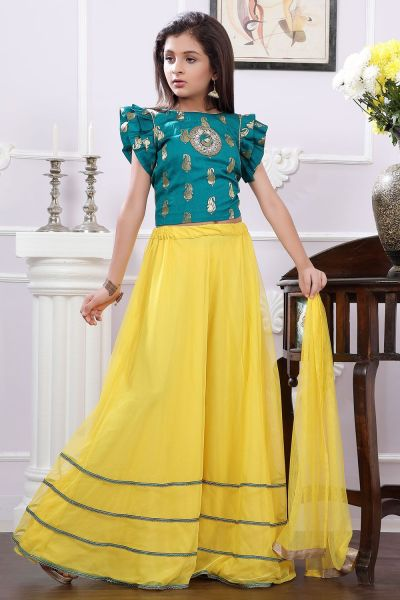 Green, Yellow Brocade Girls Lehenga Choli (NFG-163)