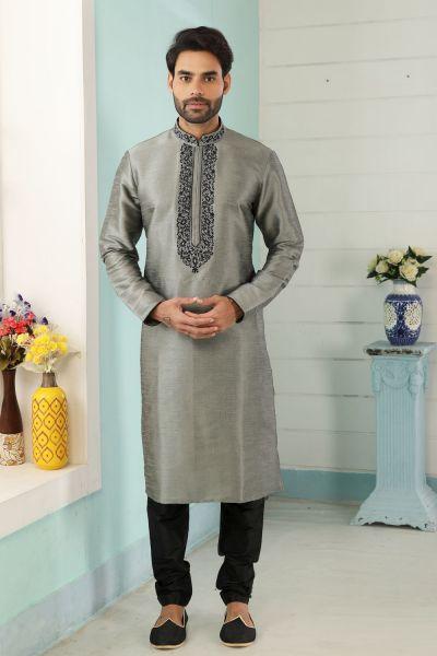 Grey Art Banarasi Silk Kurtas for Men (NMK-5055)