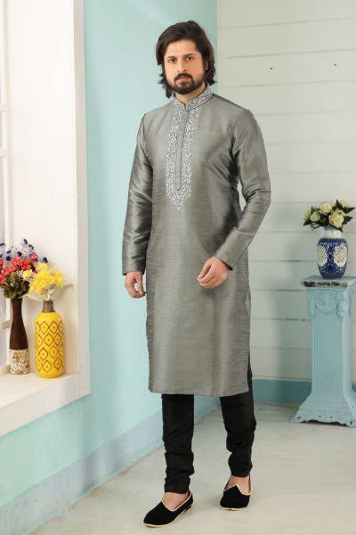 Grey Art Banarasi Silk Mens Kurta Pajama (NMK-5053)