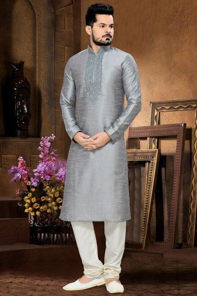 Grey Art Silk Kurta Pajama (NMK-2641)
