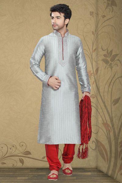 Grey Art Silk Regular Kurta Pajama (NMK-2264)