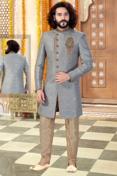 Grey Banarasi Jaquard Sherwani (NMK-4336)