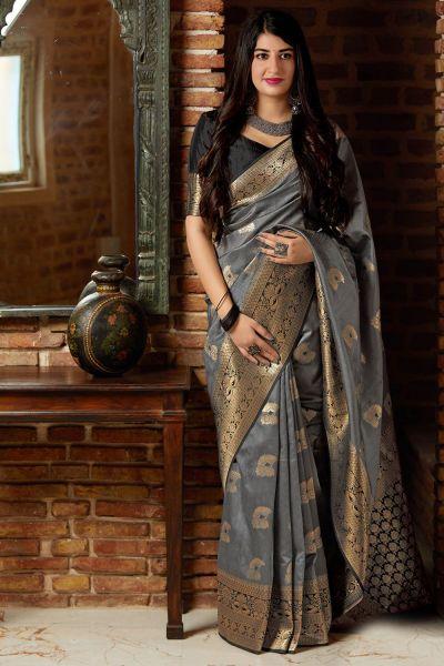 Grey Banarasi Silk Party Saree (NWSA-4372)