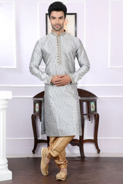 Grey Chanderi Jaquard Designer Kurta Pajama (NMK-4066)
