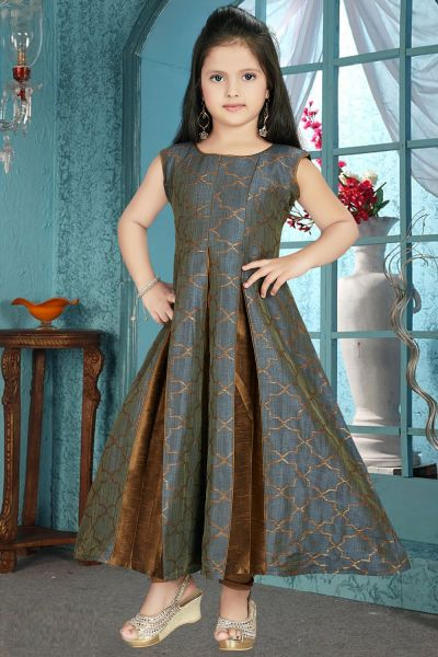 Grey, Coffee Brocade Girls Anarkali Dress (NFG-197)