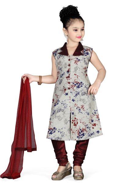Grey Cotton Girls Salwar Kameez (NFG-094)