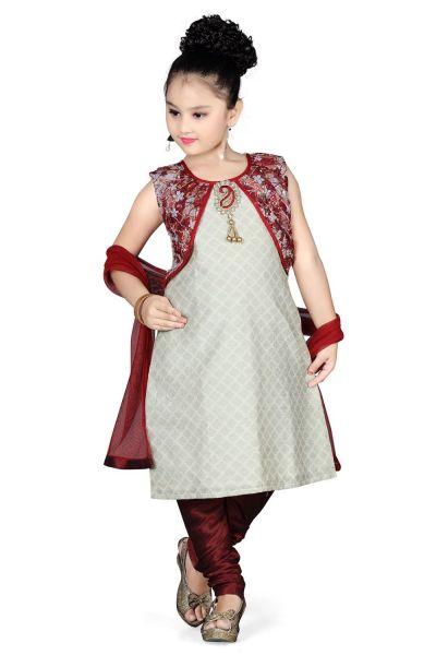 Grey Cotton Kids Salwar Kameez (NFG-096)