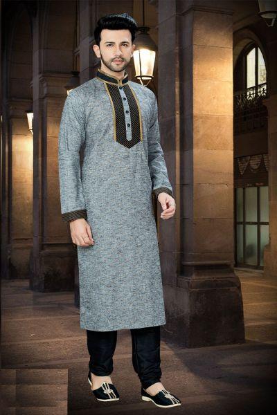 Grey Cotton Regular Kurta Pajama (NMK-3771)