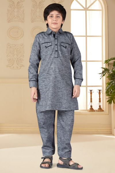 Grey Cotton Silk Kids Pathani Suit (NKK-663)