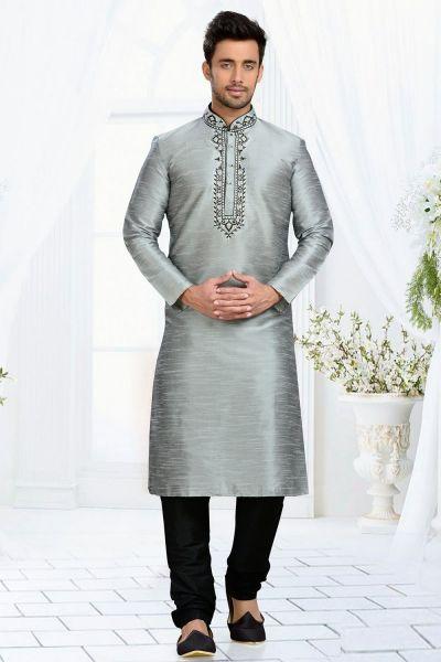 Grey Dupion Art Silk Kurta Pajama (NMK-3083)