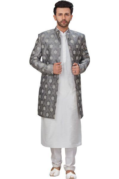 Grey Dupion Silk Indo Western for Men (NMK-4949)