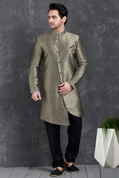 Grey Jaquard Silk Brocade Indo Western Kurta (NMK-5021)