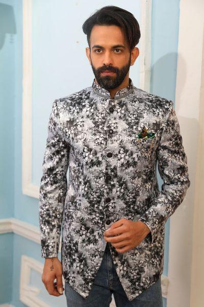 Grey Printed Silk Brocade Jodhpuri Jacket (NMK-4230)